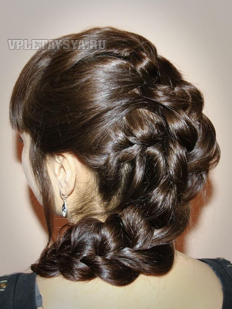 вечерние прически - французская коса - фото